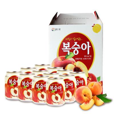 九日韓國進口飲品果肉果粒桃子果汁禮盒整箱飲料批發238ml*12罐裝