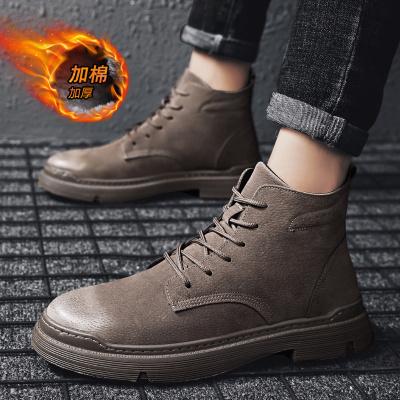 秋冬季马丁靴男加绒棉鞋工装中帮雪地战狼潮男靴英伦高帮男鞋