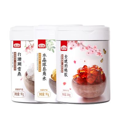 燕之坊 桃膠皂角米雪燕組合 自然養顏羹 野生干桃膠三寶拉絲雪燕正品