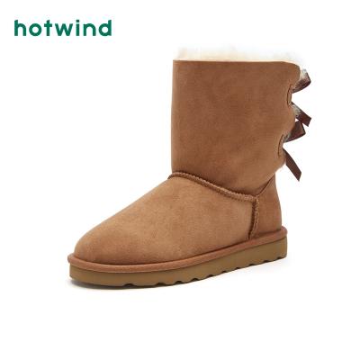 熱風hotwind新款潮流時尚女士雪地靴羊皮毛一體棉鞋H89W8442
