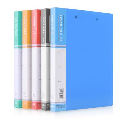 新時達XD彩色A4文件夾雙強力夾插頁活頁收納檔案夾資料冊單雙強文件夾子不銹鋼夾子5個裝