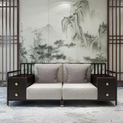 航竹坊 新中式禪意實木沙發現代中式銅套儲物沙發組合樣板房工程家具定制