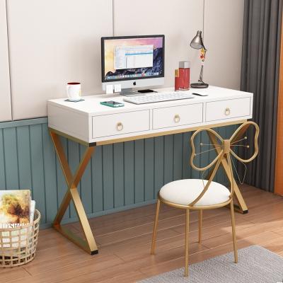 電腦桌臺式桌歐式80CM書桌家用輕奢簡約辦公桌古達帶抽屜學生寫字臺化妝臺梳妝臺