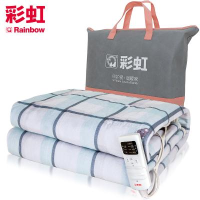 彩虹(RAINBOW)电热毯双人电褥子(1.8*1.5米)加厚双控双温电热褥 一键除螨定时功能 除湿排潮安全降档