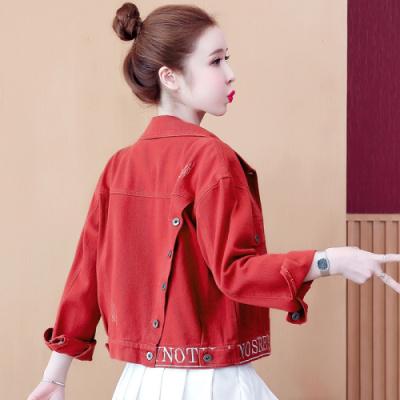 名麗斯刺繡牛仔外套女士夾克2020秋季新款韓版寬松網紅休閑百搭ins潮上衣