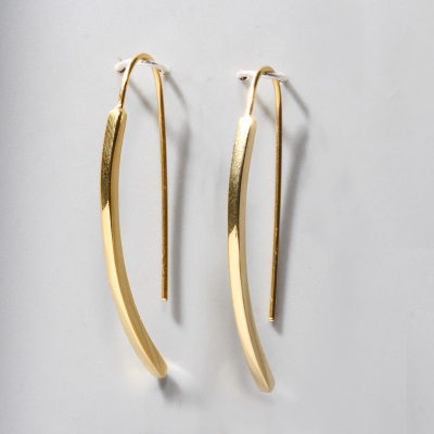 花語詩月925銀耳環女法式幾何簡約一字耳釘 高級感冷淡風時尚耳飾 港風