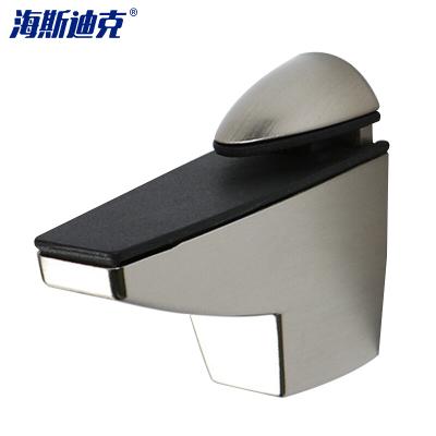 海斯迪克 gnjz-123 锌合金可调玻璃夹 玻璃托 玻璃卡夹子固定托鱼嘴夹 隔板层板夹配件 2个 中号(拉丝)