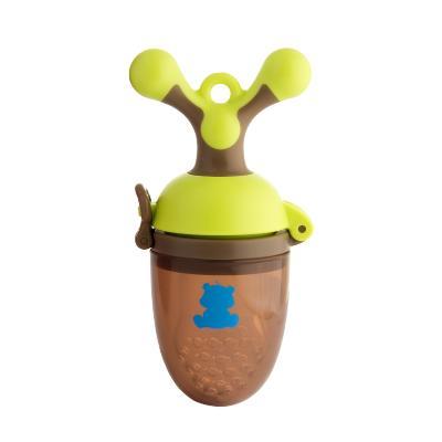 小白熊(XIAOBAIXIONG)宝宝咬咬袋 婴儿牙胶 PP 食品级硅胶 11*4.5*5(绿棕)09091