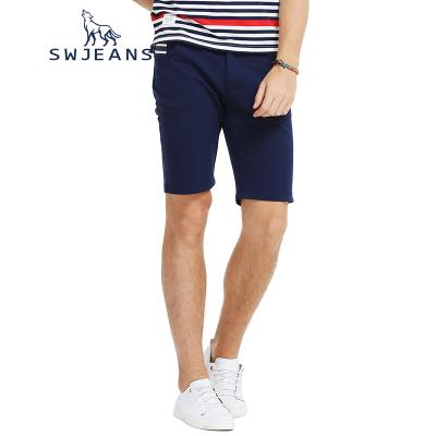 SWJEANS七匹狼男装夏季裤子合体直筒裤海魂条纹休闲裤针织短裤男
