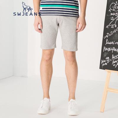 七匹狼SWJEANS夏新款男士休闲针织裤男合体修身微弹纯色直筒短裤男