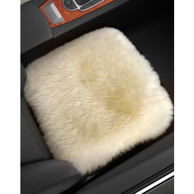 恒源祥纯羊毛汽车座垫皮毛一体方垫长毛绒免绑单个前排汽车坐垫沙发办公室椅垫