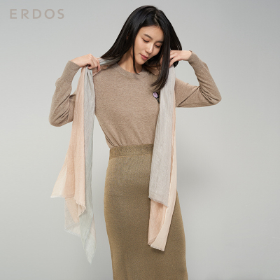 鄂尔多斯ERDOS 纯山羊绒精纺保暖女式围巾披肩
