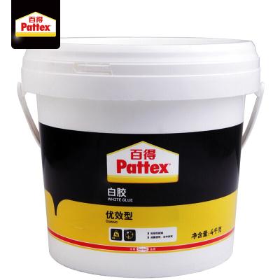 汉高百得(Pattex) 白胶 木工白胶白乳胶手工胶粘接性能强成膜透明环保型胶水 优效型PXWG4C 4kg【厂家直送】