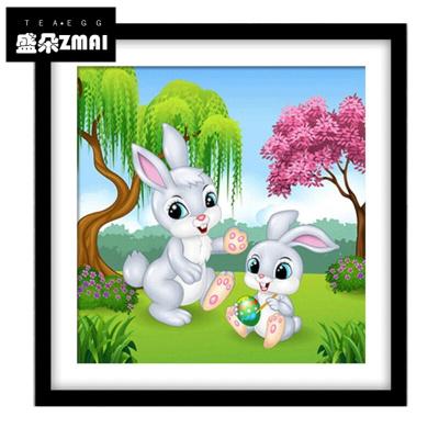 魔方圆水钻十字绣儿童小兔子动物钻石画卧室床头-sme5