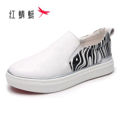 红蜻蜓休闲鞋女春款小白鞋女韩版牛皮平跟厚底乐福鞋女