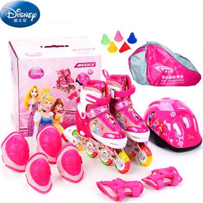 DISNEY 迪士尼公主溜冰鞋炫彩闪光儿童旱冰鞋豪华套装31038