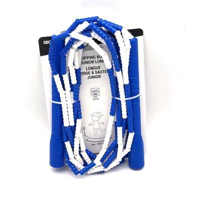 迪卡侬竹节跳绳儿童幼儿园体育运动珠节绳子小学生比赛花样绳[定制] 深蓝色4米