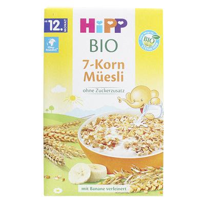 德国进口喜宝(Hipp)有机7种谷物香蕉混合麦片早餐麦片/米粉200g 12个月以上 德国本土版 盒装