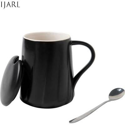 亿嘉IJARL 创意时尚礼品陶瓷马克杯情侣咖啡杯牛奶杯个性杯办公杯带盖带勺水杯子两色可选