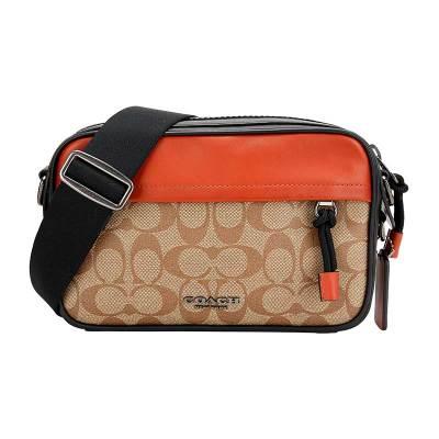 COACH 蔻驰 奢侈品 男士卡其橘色人造革配皮单肩斜挎包 F83133 QBPKF