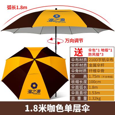 渔之源2017新款钓鱼伞2.2米万向防雨黑胶钓伞折叠防晒鱼伞垂钓伞