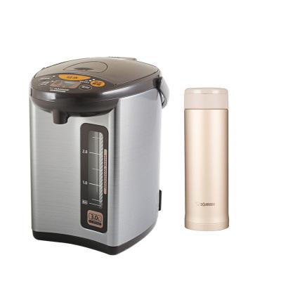 象印(ZO JIRUSHI)电热水瓶WDH30C灰色 3L+保温杯ASE50金色 500ml
