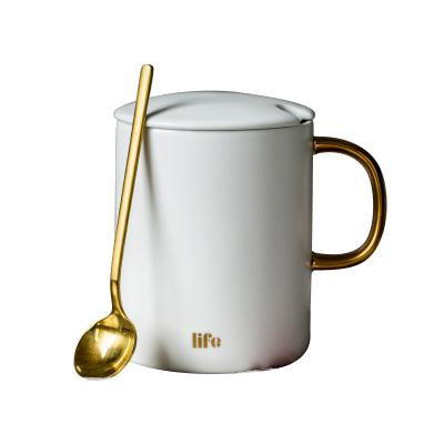 亿嘉IJARL 陶瓷马克杯水杯早餐咖啡杯办公室水杯情侣对杯金色手把杯子 磨砂白色