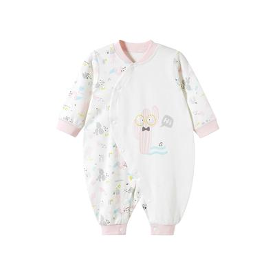 哈贝比(happyB)婴儿衣服春秋新生儿宝宝哈衣纯棉长袖空调服睡衣斜开爬爬服